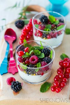 Almond cream topped with fresh berries, pistachios and chia seeds - Gluten Free, Vegan
