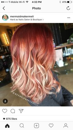 Dyed Red Hair, Dye My Hair, Hair Color Purple, Cool Hair Color, Red Hair With Blonde Highlights, Red Blonde Ombre, Hair Melt, Colored Hair Tips, Hippie Hair