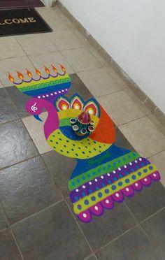Creative peacock mayur samayi colourful easy rangoli for indian festivals Diwali Special Rangoli Design, Easy Rangoli Designs Diwali, Indian Rangoli Designs, Simple Rangoli Designs Images, Rangoli Designs Latest, Rangoli Designs Flower, Rangoli Border Designs, Small Rangoli Design, Rangoli Patterns