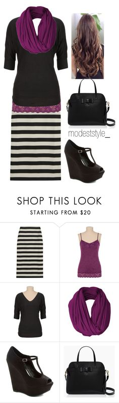 """Purple and stripes"" by modeststyle-studio ❤ liked on Polyvore featuring Burberry and Kate Spade"