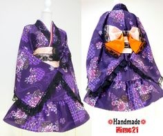 Japanese Kimono Dress washable Flower Lace Purple Silk Cosplay Gothic and Lolita Ribbon Obi Maid Clothing Kimono Robe Party dress Skirt 06