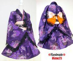 Japanese Kimono Dress washable Flower Lace Purple Silk Cosplay Gothic and Lolita Ribbon Obi Maid Clothing Kimono Robe Party dress Skirt 06 Harajuku Fashion, Kawaii Fashion, Lolita Fashion, Maid Outfit, Dress Outfits, Dresses, Japanese Outfits, Japanese Fashion, Japanese Kimono Dress
