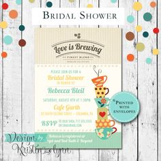 Love is Brewing, Cafe Bridal Shower Invitation (PRINTED FILE) by DesignbyKristinLynn on Etsy