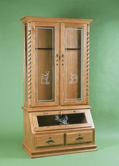 Amish Gun Cabinet With Optional Deer Design