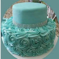 Tiffany Blue Rosette Cake~~idea only ✔ Tiffany Cakes, Tiffany Party, Pretty Cakes, Beautiful Cakes, Amazing Cakes, Tiffany Sweet 16, Rosette Cake, Occasion Cakes, Fancy Cakes