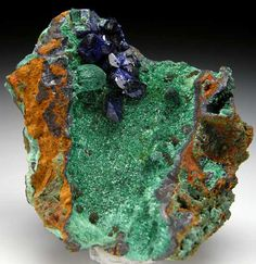 Azurite on Malachite  Liufengshan Copper Mine, Anhui Prov., China small cabinet - 7.5 x 6.5 x 4 cm