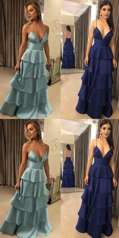 MACloth Spaghetti Straps V Neck Tiered Long Prom Dress Dark Navy Formal Evening Gown : MACloth Spaghetti Straps V Neck Tiered Long Prom Dress Dark Navy Formal Evening Gown Cheap Prom Dresses, Trendy Dresses, Elegant Dresses, Beautiful Dresses, Formal Dresses, Couture Mode, Style Couture, Robes D'occasion, Tiered Dress