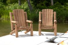 Outdoor Log Chairs, Lounges and More We offer a stunning line-up of outdoor cedar (Thuja Occidentals) log furniture that looks fantastic on the deck of your lake front cottage or mountain cabin. It can also add that rustic appearance outside your primary residence.