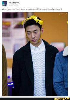 When your mom forces you to wear an outfit she picked out and you hate it #BAP