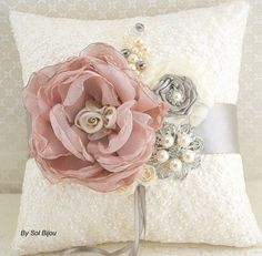 Ring Bearer Pillow Bridal Pillow Wedding Pillow in by SolBijou Ring Bearer Pillows, Ring Pillows, Throw Pillows, Ring Pillow Wedding, Wedding Pillows, How To Make Pillows, Bridal Accessories, Fabric Flowers, Just In Case
