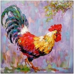 Signed Hand Painted Colorful Impressionist Rooster Oil Painting On Canvas - Farm Animal Fine Art CER Rooster Painting, Rooster Art, Chicken Painting, Chicken Art, Oil Painting Texture, Oil Painting On Canvas, Painting Trees, Painting Flowers, Buy Paintings