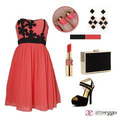 #vestido #corto #strapple #negro #coral #mini #dress #fashion #zapatilla #negra