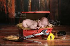 Adorable Tool Box Background for Infant by HootieHooDesigns