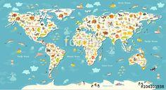 mapa świata - fototapeta