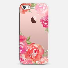 Casetify iPhone SE Classic Snap Case - Pretty Pink Peonies Watercolor Peony Flowers by Angie Makes