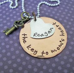 key to mom's heart necklace  custom hand stamped by juliethefish, $42.00