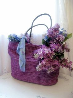 Vintage Straw Bag in Magenta/Purple/Lavender by mailordervintage