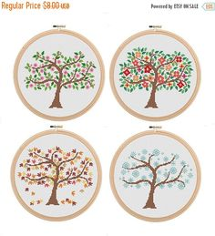 Spring Sale 25% Instant Download Set of 4 Season Tree Cross Stitch Spring Summer Autumn Winter Tree Cross Stitch Pattern season cross stitch