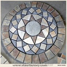 Stone Mosaic Medallion, Yellow Slate Mosaic Medallion