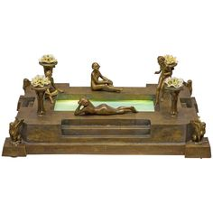 Vienna Bronze Group, Four Nudes Surrounding Illuminated Swimming Pool | From a unique collection of antique and modern more furniture and collectibles at https://www.1stdibs.com/furniture/more-furniture-collectibles/more-furniture-collectibles/