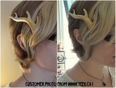 ANTLER BARRETTES - These antlers are cast from original sculpts. The plastic used is not only tough but also incredibly lightweight. They are so light they float in water and their weight is barely noticeable when worn.