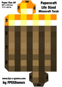 Printable papercraft cut out, Minecraft life sized torch template