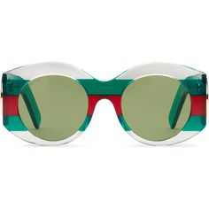 Gucci Round-Frame Acetate Sunglasses (3.560 NOK) ❤ liked on Polyvore featuring accessories, eyewear, sunglasses, glasses, round sunglasses, green lens sunglasses, round frame sunglasses, gucci sunglasses and acetate sunglasses