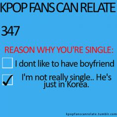 KPop Fans Can Relate This is exactly why I'm single. Daehyun is too busy doing what he has to do in Korea kekekekeke ~~ Korean Music, Korean Drama, Why Im Single, I'm Single, Shinee, Kyungsoo, Bts, L Elf, Yoo Ah In