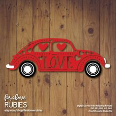 Love Bug with Heart Dots Valentine's Day Car SVG, EPS, dxf, png, jpg digital cut file for Silhouette or Cricut http://etsy.me/2DH4TGG #supplies #valentinesday #scrapbooking #valentinesvg #lovebugsvg #eps #dxf #cutfile #cuttable