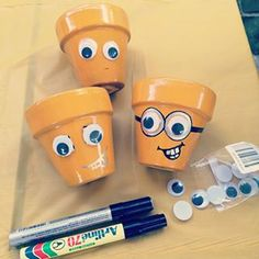 Minion pots - great craft activity for kids and can double as an alternative to party bags