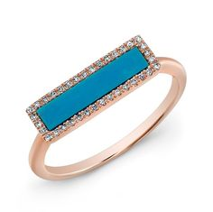 14KT Rose Gold Turquoise Diamond Bar Ring Pink Gold Rings, Turquoise Rings, Rose Gold Jewelry, Jewelry Box, Jewelry Rings, Green Turquoise, Gold Jewellery, Diamond Bar, Gold Diamond Rings