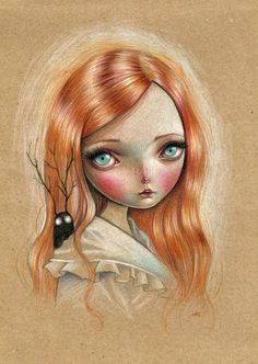 """Ania Tomicka, """"My Dark Passenger""""  colored pencils on brown paper"""
