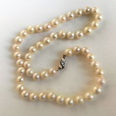 Cultured Pearl Necklace with Gold & Diamond Clasp Cultured Pearl Necklace, Cultured Pearls, Light Cream, Vintage Jewellery, White Gold, Diamond, Antiques, Jewelry, Style