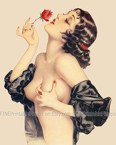 pinup pin up art vintage classic memories of olive rose red brown black hair brunette nude naked old retro illustration drawing painting girl woman pretty sexy vargas elvgren art artist hair dress 50s 40s 30s 20s 60s 70s 1920 1930 1940 1950 1960 1970 300dpi printable quality