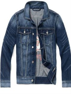 6479aceadd3 Casual Embroidery Back Denim Jacket for Boy Men - TinyDeal