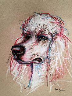 Pet Portrait Expressive Sketches - Standard Poodle Pencil, Pen and Colored Pencil on Tan Toned Paper www.juliepfirsch.com