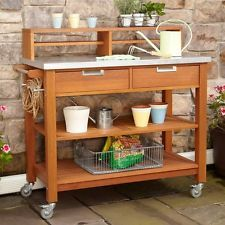 Teak Finish Wood Potting Bench Outdoor Planting Garden Patio Metal Top Drawers