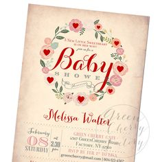 Valentine Baby Shower Invitation February by GreenCherryFactory