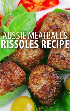 Learn how to make an Australian-style recipe for meatballs with Curtis Stone& Beef Rissoles Recipe and an amazing German-style potato salad with gravy. Aussie Food, Australian Food, Australian Recipes, The Chew Recipes, Cooking Recipes, Healthy Recipes, Pavlova, Rissoles Recipe, Curtis Stone Recipes