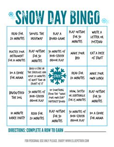 snow day bingo