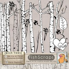 Birch Tree Clip Art - Tree ClipArt   Branch Silhouettes - Birch Tree Graphics for Personal and Commercial (Small Business)  Use.