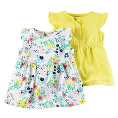 "Carter's 2 Piece White Allover Floral Printed and Yellow Polka Dot Printed Dress with Diaper Cover - Carters - Babies ""R"" Us"