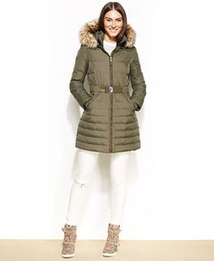 $129.99 DKNY Hooded Faux-Fur-Trim Belted Down Puffer Coat - Coats - Women - Macy's