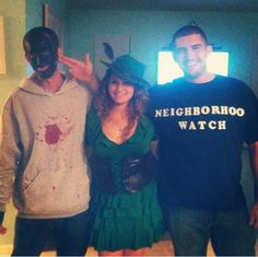To the left is Florida car-thief William Filene donning blackface obviously meant to resemble the burnt cork used by white actors to mock and stereotype Black people during the 19th and 20th centuries. The blood-stained hoodie is meant to represent him being Trayvon Martin. In the middle is Caitlin Cimeno doing her best impersonation of a hooker. And on the right is Greg Cimeno doing a very good impression of white supremacist George Zimmerman with his fingers held in the shape of a gun to…