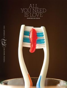 Such a cute magazine cover! Valentines cover Thursday Magazine (weekend supplement of the daily newspaper Times of Oman) Dental Design, Dental Art, Creative Advertising, Advertising Design, Advertising Ideas, Marketing Mediante Afiliadas, Valentine Day Special, Valentines, Funny Commercials