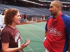 Inquirer reporter Kristen A. Graham talks with Shane Victorino.