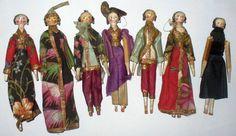 7 Antique Tiny German Grodnertal Wood Peg Doll - 1830s-  Original Clothes Puppets.