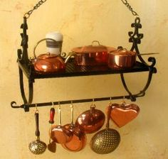 Miniature Wrought Iron Pot Racks,Handcrafted Dollhouse Miniatures