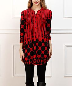 This Red & Black Abstract Dot Notch Neck Tunic - Women by  is perfect! #zulilyfinds