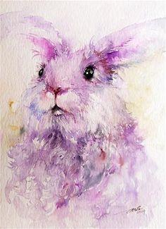 "Daily Paintworks - ""Angora Rabbit Animal Art"" - Original Fine Art for Sale - © Arti Chauhan"